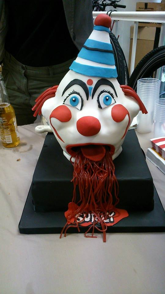 surly clown head cake